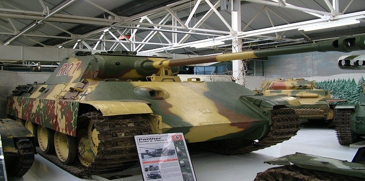 The German Panther in tank museum in Bovington, Great Britain.