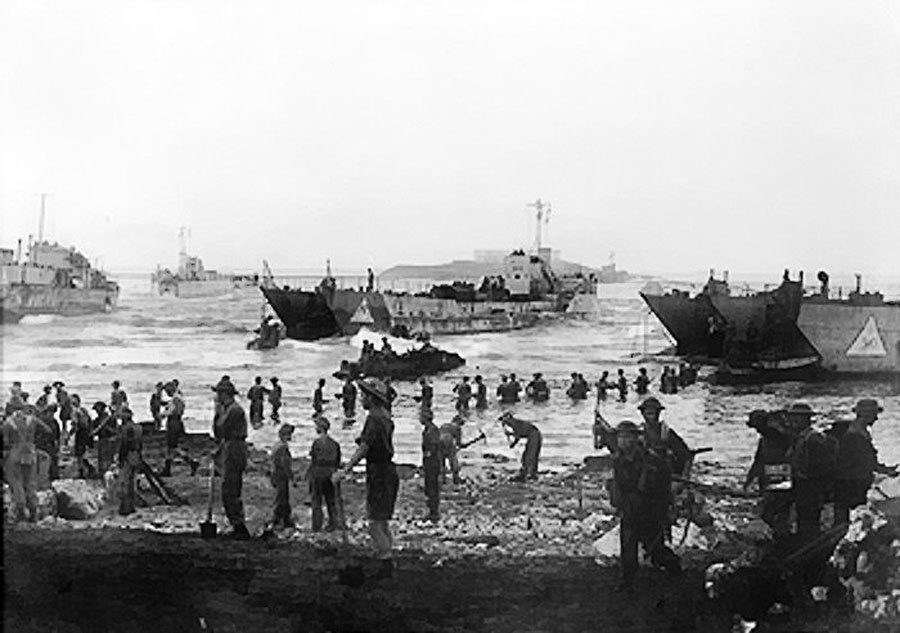 landing beach on the opening day of the invasion of sicily